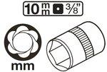 Douille / extracteur de vis cassees (3/8) 10-19mm